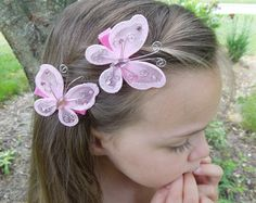 Set of 2 Pink Butterfly Hairclips, Butterflies, Butterfly Hairbow, Girl Hairclip, Toddler Hairbow, Baby Hairclip
