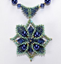Swarovski crystals and pearls nestled in a peyote seed bead