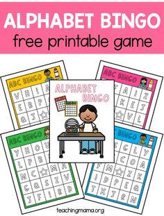 A free alphabet bingo game for children to practice recognizing uppercase letters. Abc Bingo, Bingo Games For Kids, Printable Bingo Games, Free Bingo Cards, Alphabet Bingo, Printable Alphabet, Uppercase Alphabet, Alphabet Activities, Free Printables