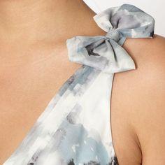 Jenny Packham Designer Ivory floral bow shoulder party dress UK16 £110 Vintage
