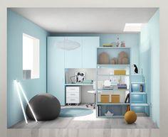 Cameretta completa di letto a soppalco con libreria frontale, gradini con…