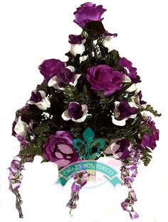 Beautiful XL Dark Purple Roses With Wisteria Available in 3 Inch Marker Vase #Crazyboutdeco