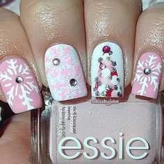 Christmas Nails Honeybee Gardens Valentine, White Manicure and Wildfire can help create this festive look. Nails Opi, Xmas Nails, Get Nails, Fancy Nails, Pretty Nails, Holiday Nail Art, Christmas Nail Designs, Christmas Nail Art, Pink Christmas