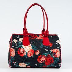 Floral Printed Bag Black & Red Ladies Handbag Barrel Bag for Women Unique Bag for Ladies Top Handle Fabric Handbag Designer Bag 5121 (39.00 USD) by MyBrightBag