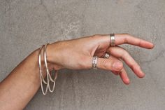 silver ring with chain, Triplet silver ring, sterling silver ring, Handmade silver ring, Silver modern ring, Minimalist silver ring, Gift*** by KrishersJewelry on Etsy