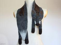 Dark de Luxe  felted wool fox scarf by celapiu on Etsy