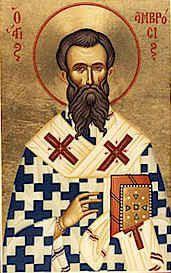 San Ambrosio Fiesta: 7 de diciembre Obispo de Milán y mentor de San Agustín. (340-397). Uno de los cuatro tradicionales Doctores de la Iglesia latina. Combatió el Arrianismo en el Occidente.