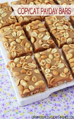 CopyCat Payday Candy Bars, salty and sweet and totally yummy! @Irene Provost | Cinnamon Spice
