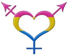 Pansexual pride heart shaped gender neutral symbol in matching pride flag colors.	 	#Pansexual	 	#liveloudgraphics