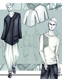 men's wear project example by Lara Wolf #larawolf #marker #fashionillustration #menswear #fashion #illustration