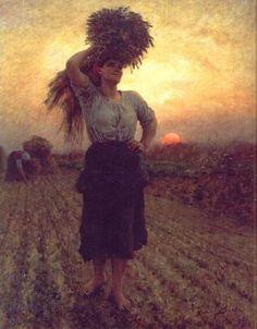 """Harvesters"" von Jules-Adolphe Breton (geboren am Mai 1827 in Courrières, Dépt. Pas-de-Calais, gestorben am Juli 1906 in Paris), französischer Maler. Jules Breton, Venus In Virgo, Social Realism, Illustration Art, Illustrations, Old Master, Oeuvre D'art, Female Art, Art History"