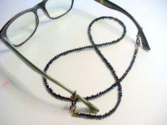 Black Beaded Eyeglass Holder Eyeglass Chain Black by DLAbeaddesign