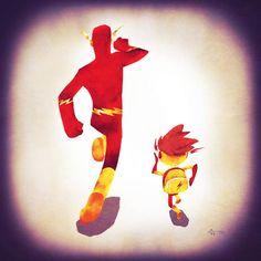 """""""Super Families Series"""", une jolie série d'illustrations très mignonnes mettant en scène les super-héros et leurs enfants sur le chemin de l'école... Et ou"""