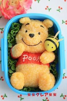 Bento Winnie the Pooh food art Kawaii Bento, Cute Bento Boxes, Bento Box Lunch, Bento Kids, Lunch Boxes, Bento Food, Comida Disney, Disney Food, Bento Recipes