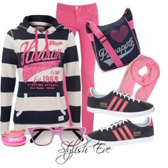 """""""Pink & Navy Casual"""" by stylisheve on Polyvore"""