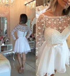 Awesome Bateau Long Sleeves Short White Organza Homecoming Dress with Bowknot Lace