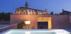 Cala outdoor lamp by Joan gaspar at Posada Terra Santa hotel in Mallorca, interior design by International Hospitality Projects