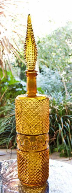 1960s Genie Bottle Yellow Amber // Amberina by ultralounge, $55.00