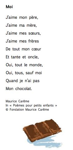 """Moi"" - Maurice Carême (thème de la famille) French Poems, French Quotes, French Teacher, Teaching French, Maurice Careme, French Worksheets, French General, Core French, French Education"