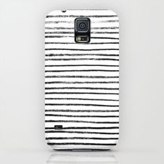 Black Brush Lines on White iPhone & iPod Case
