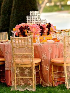 outdoor wedding reception table decorations_coral lace linen. gorgeous linens