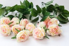 silk flowers - 12 Smaller Roses in Pink and Light Yellow PLUS Foliage -read description - ITEM 01021 by SimplySerraFloral on Etsy
