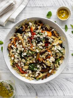 Grilled Vegetable Orzo with Smashed Feta Vinaigrette Grilled Vegetables, Veggies, Feta, Blue Cheese Vinaigrette, Vegetarian Recipes, Healthy Recipes, Vegetarian Dinners, Vegetarian Grilling, Healthy Grilling