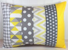Decorative Pillow Cover, Nursery Pillow Cover, Gender Neutral Pillow Cover, Lumbar Cushion Cover, 12 x 16 Inches Gray and Yellow Chevron