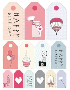 FREE printable Happy Birthday Cards, Tags and Stickers. Love these fun birthday . FREE printable Happy Birthday Cards, Tags and Stickers. Love these fun birthday designs. Gift Tags Printable, Printable Stickers, Printable Planner, Free Printables, Happy Birthday Tag, Birthday Tags, Free Birthday, Birthday Quotes, Happy Birthday Printable