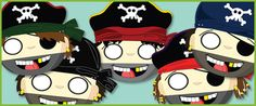 Pirate Role-Play Masks...A set of fun pirate themed masks ideal for swashbuckling role-play scenarios in your school or early years setting. #pirates