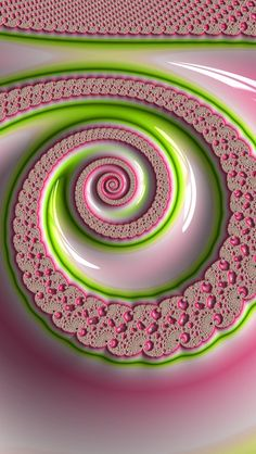 pink and green lacy spiral pattern