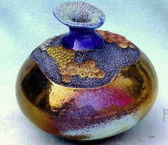 M. Wein Raku coral collection vase