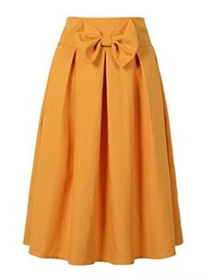 Choies Women's Casual Pleat Bowknot Front Midi Skirt at Amazon Women's Clothing store: