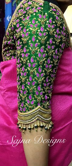 look at that hangings on sleeves Pattu Saree Blouse Designs, Fancy Blouse Designs, Bridal Blouse Designs, Maggam Work Designs, Blouse Models, Bollywood, Work Blouse, Trendy Fashion, Fashion Art