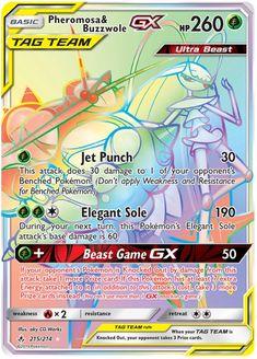 Pheromosa & Buzzwole GX Rainbow Card Fake Pokemon Cards, Pokemon Go, Pokemon Cards Legendary, Pokemon Tcg Cards, Pokemon Rayquaza, Pokemon Fusion Art, Pokemon Trading Card, Pokemon Memes, Cool Cards