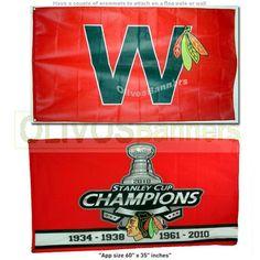 $39.99 FREE SHIPPING!!  2 X New BIG NHL CHICAGO BLACKHAWKS FLAG BANNER Hockey Stanley Cup Champions + W