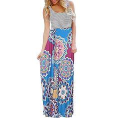 072336b47b0 VEZAD Women Striped Sleeveless Print Boho Party Evening Long Maxi Dresses  with Pockets    Click