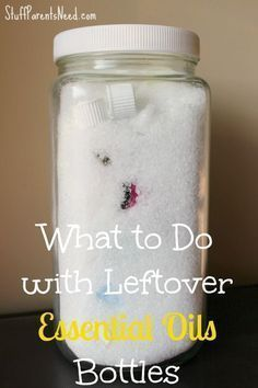 If you have empty or almost empty essential oils bottles, this is a great way to use over every last drop inside of them!