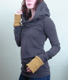 extra long sleeved hooded top Cement grey with by joclothing, $65.00.. i want now