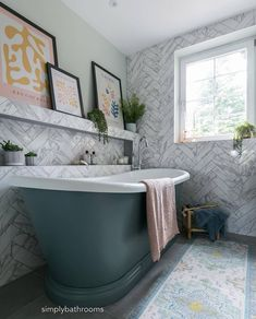 """BC Designs on Instagram: """"Our painted Boat bath looks incredible in @simplybathroomsltd's latest project. The herringbone tiling and art shelf add some serious…"""" Herringbone Tile, Boat Painting, Tiling, Clawfoot Bathtub, Shelf, The Incredibles, Ads, Projects, Instagram"""