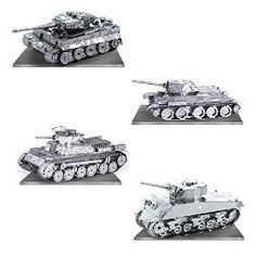 Amazon.com: Metal Earth 3D Model Kits - Tanks Set of 4 - Tiger 1, T-34, Chi-Ha and Sherman: Toys & Games