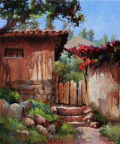 Up the Steps and Through the Gate by Kathy Tate Oil ~ 20 x 16