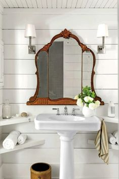 shiplap bathroom, wood ceiling, antique mirror