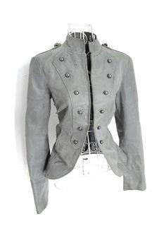 SALE Vintage Leather  Grey Gothic Military jacket Steampunk Victorian Burlesque Riding jacket   coat 10 12 S via Etsy