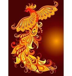 A mythical fire bird vector
