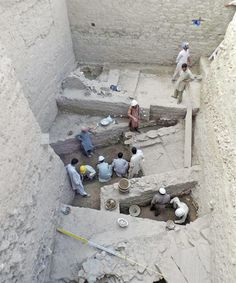 Archaeologists excavate Indo-Greek and Saka-Parthian structures at Bazira, Swat. — Dawn photo