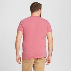 Men's Big & Tall V-Neck T-Shirt - Mossimo Supply Co. Pink 5XB Tall, Size: 5XBT