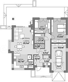 Rzut parteru projektu Lukrecja II Floor Plans, Suitcase, Flats, Projects, Floor Plan Drawing, House Floor Plans
