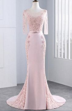 Pink Sheath Sweep Train Sheer Neck Three Quarters Sleeve Sheer Back Appliques Prom Dress Formal Dress Short Bridesmaid Dresses, Prom Party Dresses, Sexy Dresses, Beautiful Dresses, Girls Dresses, Flower Girl Dresses, Wedding Dresses, Evening Party Gowns, Evening Dresses