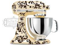 Flourish kitchen mixer decal Swirl mixer by GoodGollyGraphics